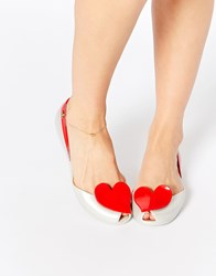 Vivienne Westwood For Melissa Queen Pearl Red Heart Flat Shoes Pearlred