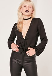 Missguided Tie Front Blouson Sleeve Crop Blouse Black