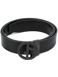 Giorgio Armani Logo Buckle Reversible Belt Black