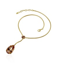 A Z Collection Amber Tear Drop Gold Plated Necklace