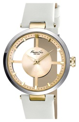 Kenneth Cole Cutout Dial Leather Strap Watch 36Mm White