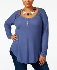 American Rag Trendy Plus Size Lace Trim Henley Only At Macy's Coastal Flood