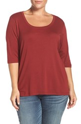 Sejour Plus Size Women's Elbow Sleeve Scoop Neck Tee Red Syrah