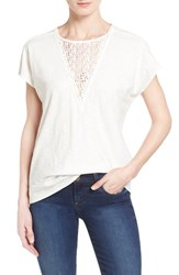 Women's Two By Vince Camuto Lace Inset Short Sleeve Tee