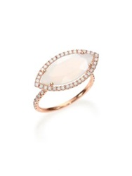 Meira T Chalcedony Mother Of Pearl Diamond And 14K Rose Gold Doublet Marquis Ring