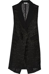 Milly Crepe Trimmed Organza Vest Black