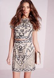 Missguided Premium Aztec Embellished Mini Skirt Nude Beige