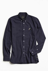 Barney Cools Toucan Embroidered Button Down Shirt Navy