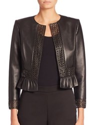Carolina Herrera Laser Cut Leather Jacket Black