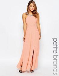 Little Mistress Petite Maxi Dress With Embellished Strap Peach Pink