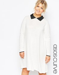 Asos Curve Knitted Swing Dress With Embroidered Contrast Collar Cream