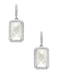 Nadri Mother Of Pearl And Sterling Silver Emerald Drop Earrings