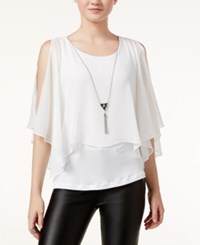 Amy Byer Bcx Juniors' Cold Shoulder Popover Top White