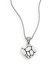 John Hardy Kali White Sapphire And Sterling Silver Lava Heart Pendant Necklace