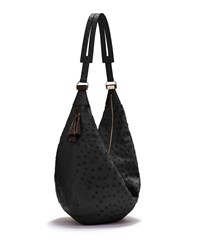 Sling 15 Ostrich Leather Hobo Bag Black The Row