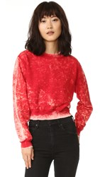 Cotton Citizen The Milan Cropped Crew Sweatshirt Crimson Dust