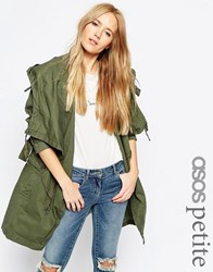 Asos Petite Parka With Waterfall And Storm Flap Khaki Green