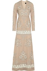 Needle And Thread Graphic Rose Embellished Chiffon Gown Beige