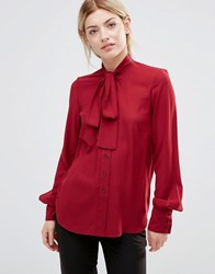 Alter Blouse With Tie Neck Terracotta Red