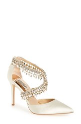Badgley Mischka Women's 'Glamorous' Crystal Embellished Pointy Toe Pump Ivory Satin