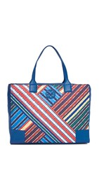 Tory Burch Ella Quilted Stripe Tote Blanket Stripe Diagonal