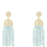 Latelita London Tassel Earring Aquamarine Blue Gold Green