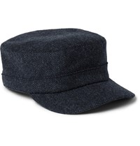 Lock And Co Hatters Herringbone Wool Cap Navy