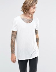 Asos Super Longline T Shirt In Linen Look With Step Hem And Scoop Neck White