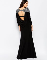 Forever Unique Calista Long Sleeve Maxi Dress With Embellished Shoulders And Open Back Black