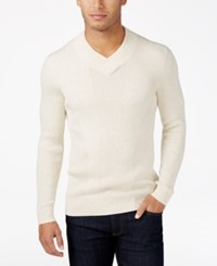 Inc International Concepts Men's Ribbed V Neck Sweater Only At Macy's Sesame Heather