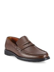 A. Testoni Pebbled Calf Leather Penny Loafers Caffe Black