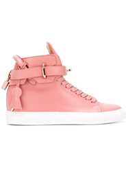 Buscemi Key And Padlock Hi Top Sneakers Pink And Purple