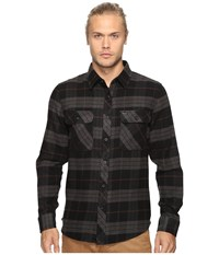 Brixton Bowery Long Sleeve Flannel Black Charcoal Men's Long Sleeve Button Up