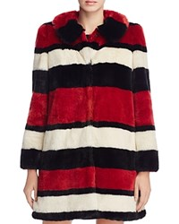 Alice Olivia Kinsley Faux Fur Coat Cream Black Red