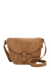 T Shirt And Jeans Whipstitched Faux Leather Crossbody Brown