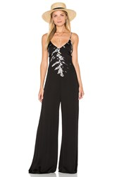 Gypsy 05 Halter Deep V Back Jumpsuit Black And White
