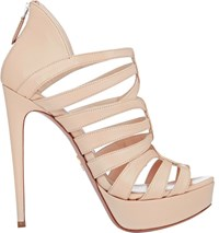 Prada Strappy Back Zip Platform Sandals Nude