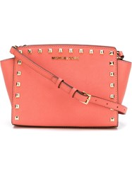 Michael Michael Kors 'Selma' Medium Studded Messenger Yellow And Orange