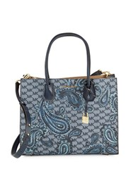 Michael Michael Kors Mercer Paisley Large Convertible Tote Navy Blue