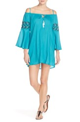Women's Green Dragon Embroidered Bell Sleeve Cover Up Turquoise