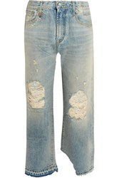 R 13 R13 Camille Distressed Mid Rise Straight Leg Jeans Light Denim