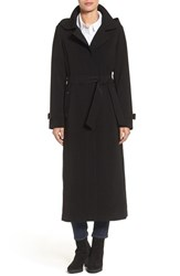 Gallery Petite Women's Belted Long Nepage Raincoat With Detachable Hood And Lining