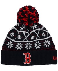 New Era Boston Red Sox Sweater Chill Pom Knit Hat Navy Red White