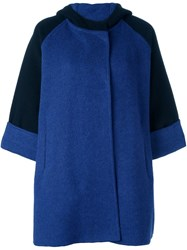Gianluca Capannolo Two Tone Hooded Coat Blue