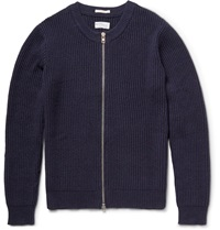 Gant The Zipper Ribbed Cotton Blend Cardigan Blue