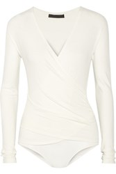 Donna Karan New York Wrap Effect Stretch Jersey Bodysuit Ivory