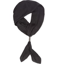 The Kooples Jacquard Silk Scarf Black