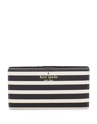 Kate Spade Stacy Striped Leather Wallet Black Sandy Beach