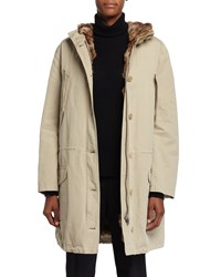 Michael Kors Anorak Hooded Coat W Fur Lining Sand Brown