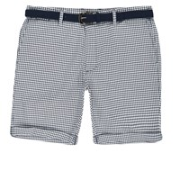 River Island Mens Blue Dogtooth Belted Bermuda Shorts